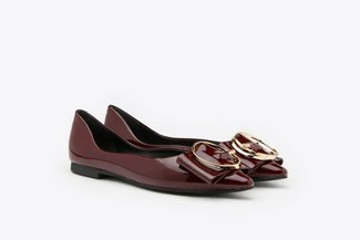6001-6 Wine Oversized Ring Buckle Patent Low Heels