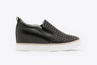 8068-3 Black Micro Stud Embellished Wedge Sneakers