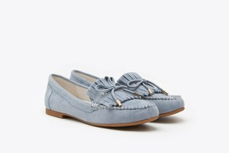 8328-11 Blue Fringe Lace-Up Leather Loafers