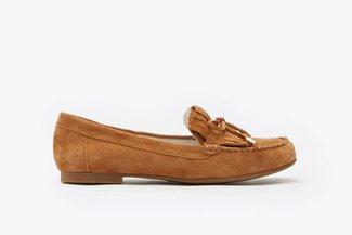 8328-11 Camel Fringe Lace-Up Leather Loafers