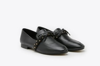 8998-5 Black Bow Detailed Round Toe Leather Loafers