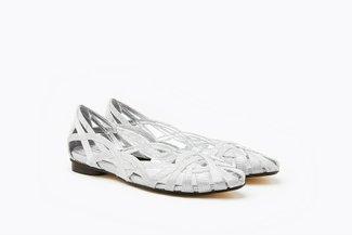 JS51-18 Silver Glitter Weaved Flats