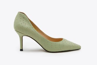 LT828-56 Mint Micro Stud Embellished Pointed Pumps