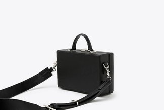 181207 Black Mini Box Leather Shoulder Top Handle Bag