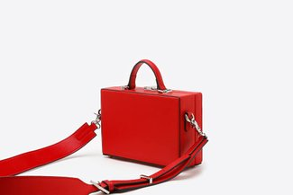 181207 Red Mini Box Leather Shoulder Top Handle Bag