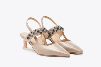 1968-3A Almond Bejewelled Studded Slingback Patent Pumps