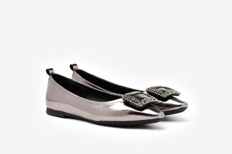 2660-3 Pewter Crystal Buckle Embellished Pointy Leather Flats