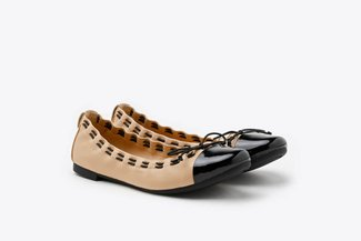 386-3A Almond Stitch Trimmed Round Toe Leather Ballet Flats