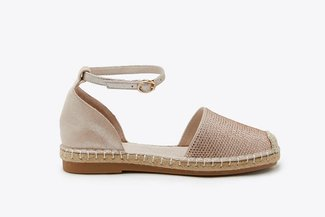 736-821 Champagne Diamante Embellished Ankle Strap Espadrilles