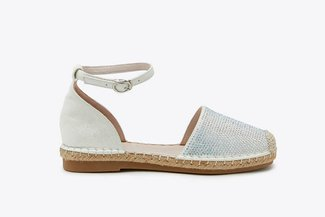 736-821 Silver Diamante Embellished Ankle Strap Espadrilles