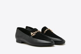 8998-7 Black Two-Tone Leather Chain Loafers