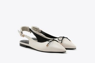 533-1 Beige Slingback Bow Leather Pointed Ballet Flats