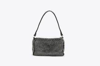 9423 Black Diamante Embellished Long Handle Handbag
