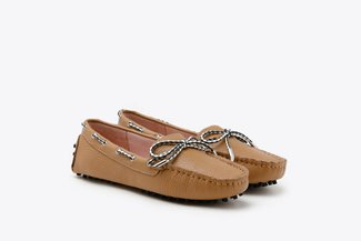 A8-1901 Camel Bow Leather Loafers