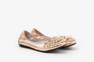 1299-10 Champagne Pearl Embellished Leather Flats