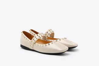 1319-1 Beige Glossy Patent Gold Studded Square Toe Mary Jane Flats