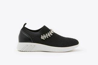 72-5 Black Rhinestones Crystal Embellished Knit Slip-On Sneakers