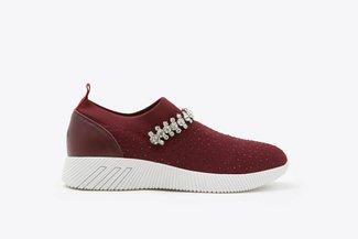 72-5 Wine Rhinestones Crystal Embellished Knit Slip-On Sneakers