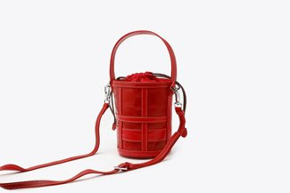 B083 Red Croc-Effect Caged Leather Bucket Bag