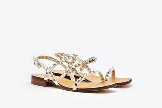 LT6233-27 Beige Studs Embellished Leather Sandals