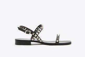 LT6233-27 Black Studs Embellished Leather Sandals