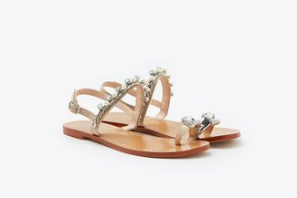 YD231-54 Almond Pearly Crystal Embellished Diamond Toe-Ring Leather Slides