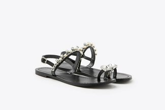 YD231-54 Black Pearly Crystal Embellished Diamond Toe-Ring Leather Slides