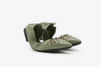 6138-1 Green Gold Studded Bow Leather Foldable Pointy Flats