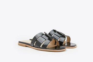 A396-206 Black Interlocked Cage Glossy Leather Slides