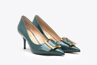 LT183-10 Blue Glossy Classic Gold Buckled Pointy Toe Patent High Heels