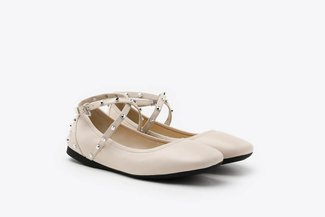 302-1 Beige Studded Strap Round Toe Leather Flats