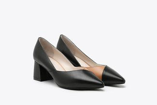 188A-8 Black Two-Tone Leather Block Heels