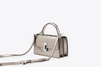 87186-1 Pewter Metallic Mod Top-Handle Mini Leather Shoulder Bag