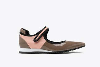 9861-1 Khaki Athleisure Pointed Toe Strap Mary Jane Flats