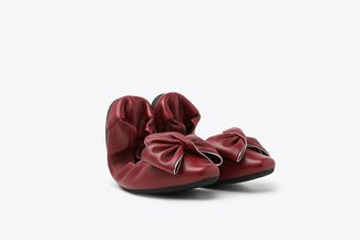 1318-55 Wine Oversized Bow Leather Foldable Flats