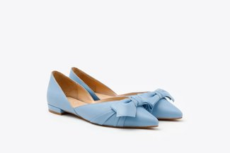 1359B-25 Blue Pastel Oversized Knotted Bow Pointed Toe Leather Flats