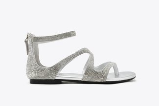 1368-1 Silver Diamante Strappy Leather Zipback Sandals
