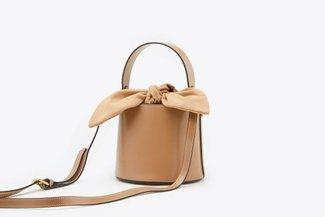 181208 Almond Top Handle Leather Bucket Bag