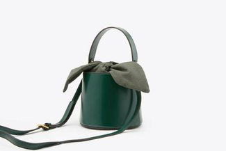 181208 Green Top Handle Leather Bucket Bag