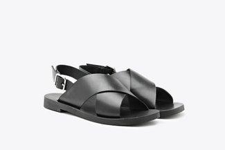 1857-201 Black Criss-Cross Strap Leather Sandals