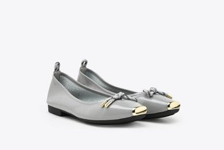 2188-3 Grey Gold-Tip Knot Patent Leather Ballet Flats