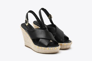 3907-11 Black Cross Strap Studded Espadrille Leather Wedges