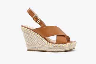 3907-11 Brown Cross Strap Studded Espadrille Leather Wedges
