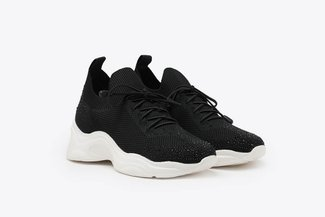 5E-8 Black Diamante Stretch Knit Chunky Platform Sneakers