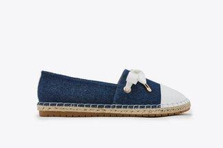 619-1 Blue Lace Slip-on Canvas Leather Espadrilles