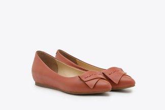 6612-5 Orange Leather Ballet Flats
