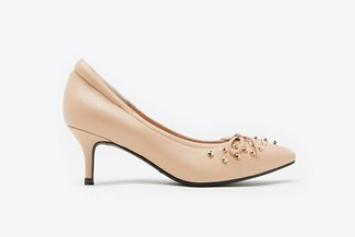 712-8 Almond Gold-Studded Bow Pointed Leather Mid Heels