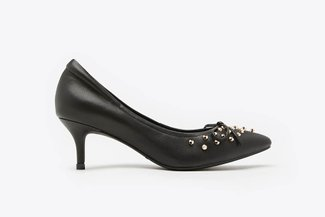 712-8 Black Gold-Studded Bow Pointed Leather Mid Heels
