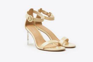 716-2019 Apricot Ankle Strap Patent Sandal Heels