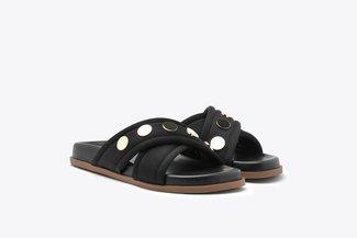7616-2 Black Flat Studs Leather Slides